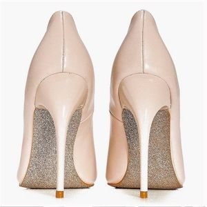 Boohoo Lucy Pointed Glitter Sole Court Nude Heels